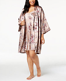 Thalia Sodi Plus Size Floral-Print Charmeuse Wrap, Created for Macy's