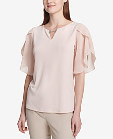 Calvin Klein Flutter-Sleeve Split-Neck Blouse