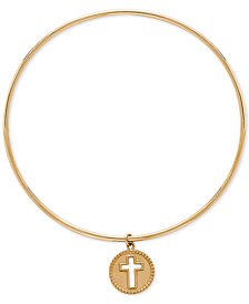 Cross Charm Bangle Bracelet in 14k Gold