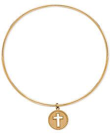 Cross Charm Bangle Bracelet in 14k Gold