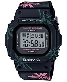 Baby-G Women's Digital Black Floral Resin Strap Watch 40mm