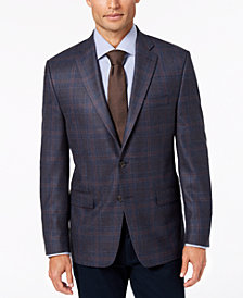 Lauren Ralph Lauren Men's Classic-Fit UltraFlex Stretch Blue/Brown Plaid Wool Sport Coat