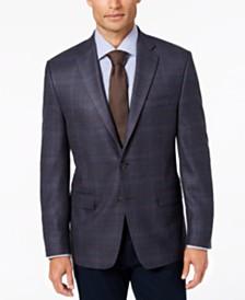 Lauren Ralph Lauren Men's Classic-Fit UltraFlex Stretch Blue/Brown Plaid Wool Sport Coat