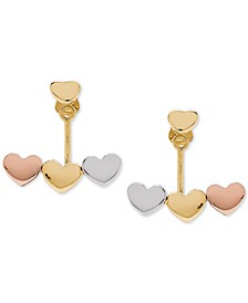Tricolor Heart Earring Jackets in 10k Gold, White Gold & Rose Gold