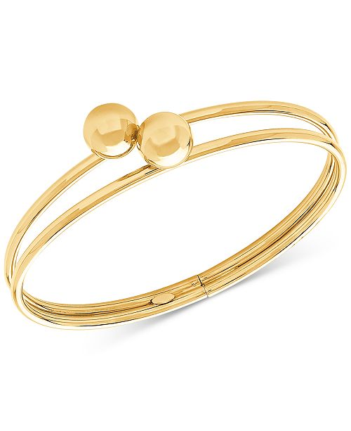 Macy's Polished Double Beaded Bangle in 14k Gold