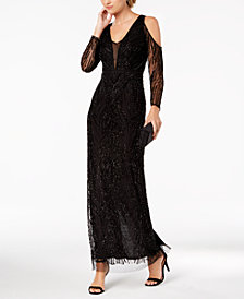 Adrianna Papell Beaded Cold-Shoulder Mesh Gown