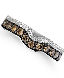 Le Vian® Vanilla Diamonds® (1/8 ct. t.w.) and Chocolate Diamonds® (1/2 ct. t.w.) Ring in 14k White Gold