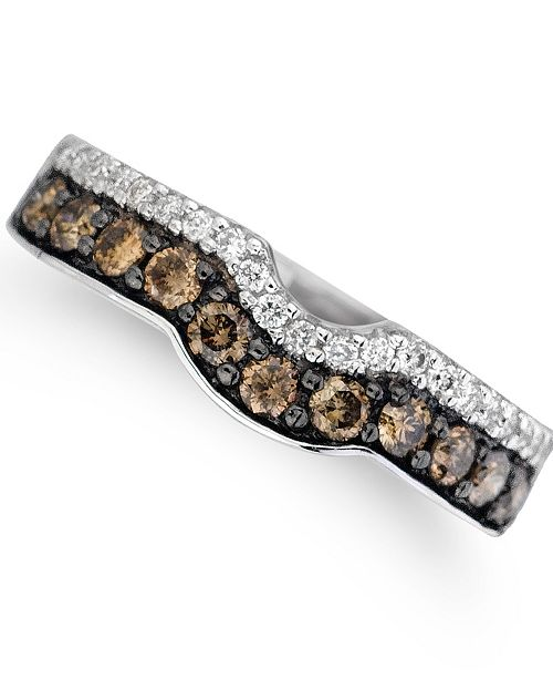 Le Vian Vanilla Diamonds® (1/8 ct. t.w.) and Chocolate Diamonds® (1/2 ct. t.w.) Ring in 14k White Gold