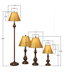 kathy ireland home by Pacific Coast Devon Collection Set of 4 Lamps (2 Table Lamps, Floor Lamp and Desk Lamp)
