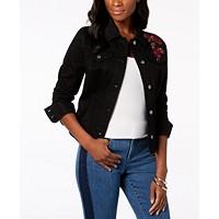 Charter Club Floral-Embroidered Denim Jacket