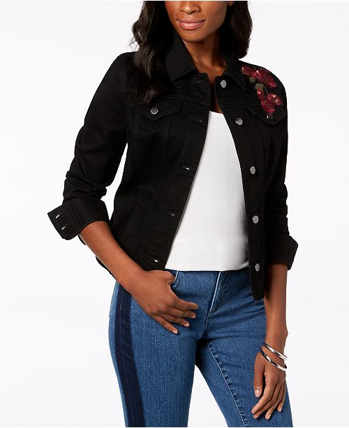 for Charter Created Macy's Floral Black Club Saturated Denim Embroidered Jacket YwBaCUxBq