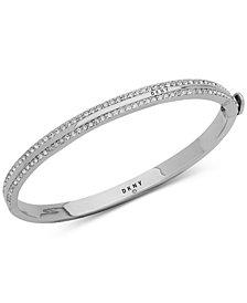 DKNY Silver-Tone Pavé Bangle Bracelet