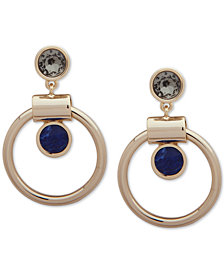 DKNY Gold-Tone Stone Orbital Drop Earrings