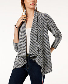 Tommy Hilfiger Draped Tweed Open-Front Cardigan, Created for Macy's