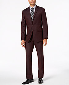 Van Heusen Men's Slim-Fit Stretch Burgundy Solid Suit