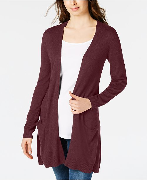 Maison Jules Long Open-Front Jersey Cardigan Sweater, Created for Macy's