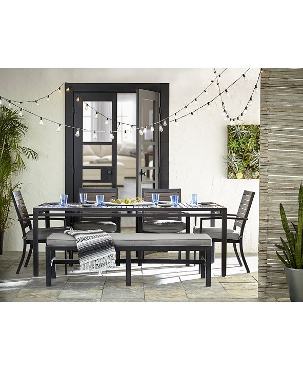 "Furniture Marlough II Outdoor Aluminum 6-Pc. Dining Set (84"" x 42"" Dining Table, 4 Dining Chairs and 1 Bench) with Sunbrella® Cushions, Created for Macy's"