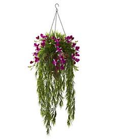 Nearly Natural Bamboo & Dendrobium Artificial Arrangement Hanging Basket