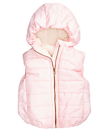 First Impressions Baby Girls Reversible Hooded Puffer Vest, Created for Macy's