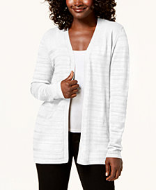 Karen Scott Open-Front Pointelle Knit Cardigan, Created for Macy's