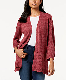 Karen Scott Open-Front Pointelle Cardigan, Created for Macy's