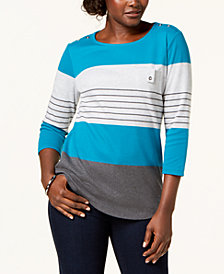 Karen Scott Striped Top, Created for Macy's