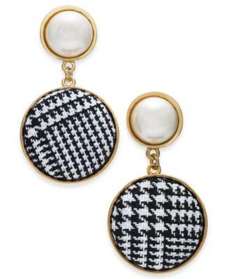 I.N.C. Gold-Tone Imitation Pearl & Tweed Drop Earrings, Created for Macy's