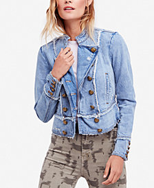 Free People Ferry Frayed Cotton Denim Jacket