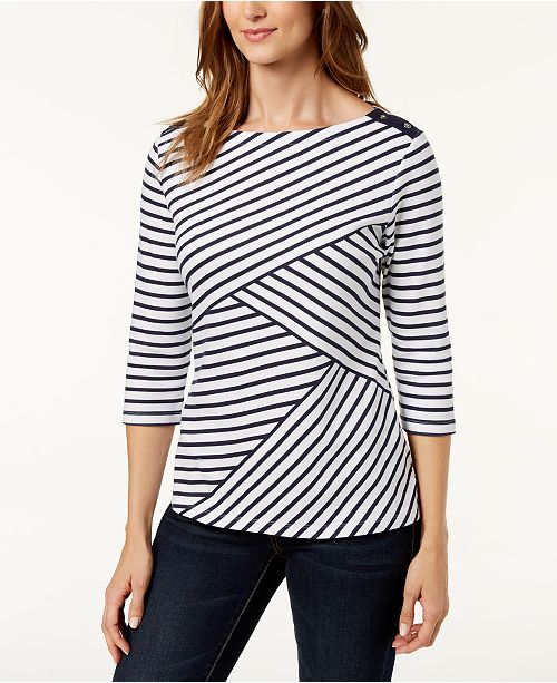 d9042741f16489 Karen Scott Petite Striped Boat-Neck Top, Created for Macy's & Reviews