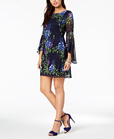Jessica Howard Petite Floral Bell-Sleeve Dress