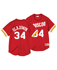 Mitchell & Ness Men's Hakeem Olajuwon Houston Rockets Name and Number Mesh Crewneck Jersey