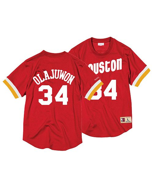 2009e9829 ... Mitchell   Ness Men s Hakeem Olajuwon Houston Rockets Name and Number  Mesh Crewneck Jersey ...