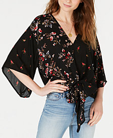 Polly & Esther Juniors' Printed Tie-Front Dolman Top