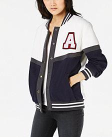 Say What? Juniors' Letterman Snap Jacket