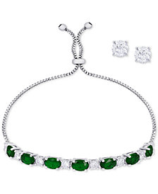 Simulated Emerald Slider Bracelet & Cubic Zirconia Stud Earrings Set In Fine Silver-Plate, May Birthstone