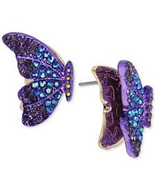 Betsey Johnson Two-Tone Pavé Butterfly Stud Earrings