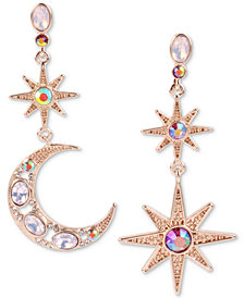 Betsey Johnson Gold-Tone Multi-Stone Star & Moon Mismatch Drop Earrings, Created for Macy's