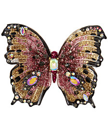 Betsey Johnson Gold-Tone Multi-Stone Butterfly Statement Ring