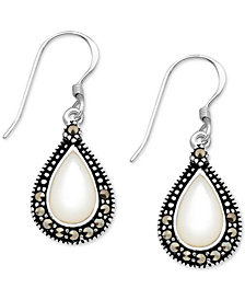 Mother-of-Pearl & Marcasite Teardrop Drop Earrings in Fine Silver-Plate