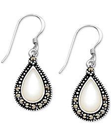 Mother-of-Pearl & Marcasite Teardrop Drop Earrings in Fine Silver-Plate