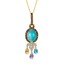 "Robin's Egg Manufactured Turquoise™ and Multicolor Gemstones (3 ct. t.w.) 18"" Pendant in 14k Gold"