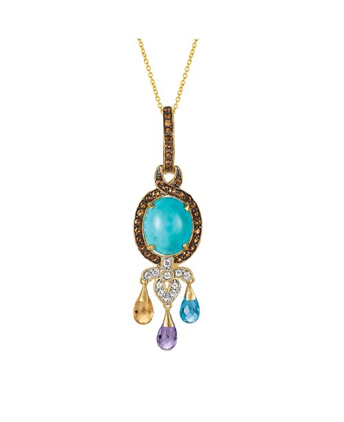 """Le Vian Robin's Egg Manufactured Turquoise™ and Multicolor Gemstones (3 ct. t.w.) 18"""" Pendant in 14k Gold"""