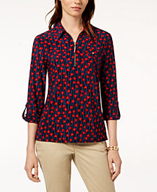 Tommy Hilfiger Patterned Collared Top, Created for Macy's