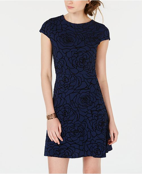 Juniors' Print Cutout Dress Black Teeze Me Floral Navy Ffxt5qy8aw
