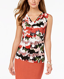Nine West Printed Cowl-Neck Top