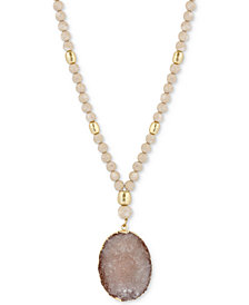 "Lucky Brand Gold-Tone Beaded Druzy Stone Pendant Necklace, 30"" + 2"" extender"