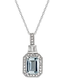 "Aquamarine (1 ct. t.w.) & Diamond (1/5 ct. t.w.) 18"" Pendant Necklace in 14k White Gold"