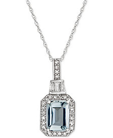 "Aquamarine (1 ct. t.w.) & Diamond (1/5 ct. t.w.) 18"" Pendant Necklace in 14k White Gold"