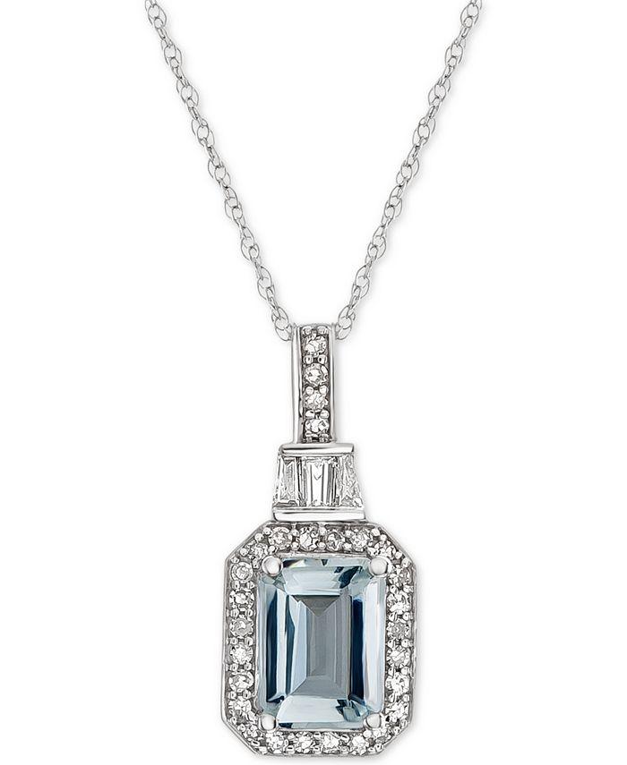 "Macy's - Aquamarine (1 ct. t.w.) & Diamond (1/5 ct. t.w.) 18"" Pendant Necklace in 14k White Gold"