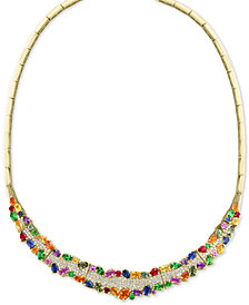 "EFFY® Multi-Gemstone (15-9/10 ct. t.w.) & Diamond (1-5/8 ct. t.w.) 18"" Statement Necklace in 14k Gold"